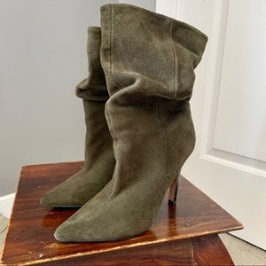 ALDO olive suede ruched shaft high heeled booties